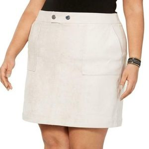 INC Beige Tan Micro Suede Mini Skirt Plus Choose